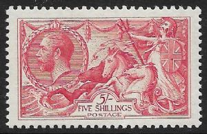 1918 SG416 5/- Rose Red  Seahorse  Stamp  Unmounted Mint